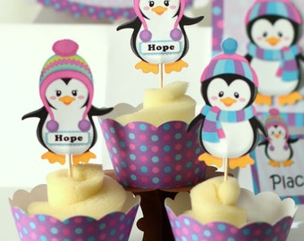12 Penguin Party Cupcake Toppers - Birthday Party Decoration