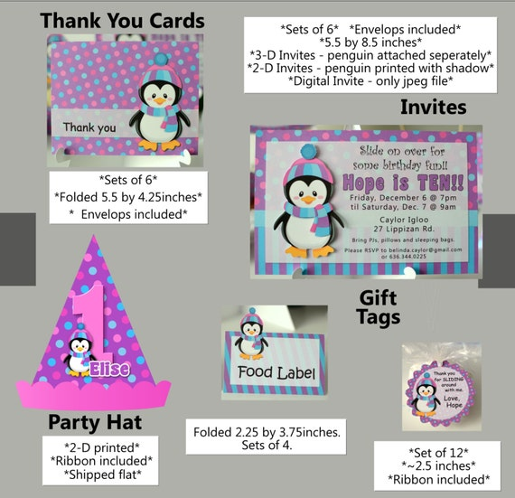 penguin birthday party supplies or penguin baby shower, Baby shower invitation