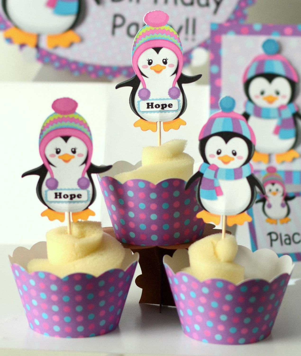 12 Penguin Party Cupcake Toppers Birthday Party Decoration