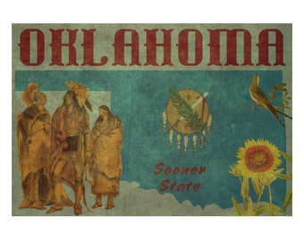 OKLAHOMA 1FS- Handmade Leather Photo Album - Travel Art