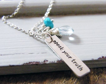 speak your truth hand stamped sterling silver necklace with aquamarine and turquoise gems