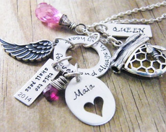 personalized necklace hand stamped sterling silver and genuine gemstone wire wrapped beads