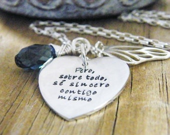 personalized heart necklace hand stamped with crystal briolette and butterfly wing