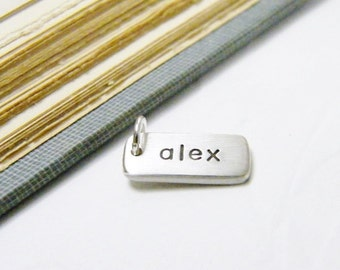 customized hand stamped dog tag style tiny charm sterling silver matte finish