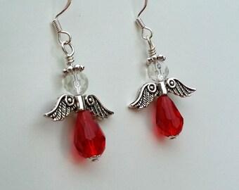 Native American Beaded Earrings - Scroll Wing Angels - Red