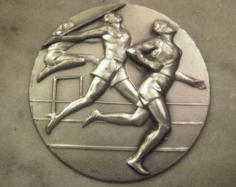 Vintage Silver Sports Stamping, Decathlon Track and Field Medal, Round Athletic Plaque or Trophy Award, Made in Italy, 50mm, 1 pc.