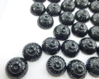 PrIcEd To CeLL BLaCK ONYX Carved Snail Shell. Earring, Ring & Cufflink Stones. Round. Can Be Drilled 3 pc. 10 mm (Ox335-3)