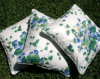 "Designer  Accent Pillow Covers, 18 x 18 inches, Waverly ""Sweet Violets"" Cotton"