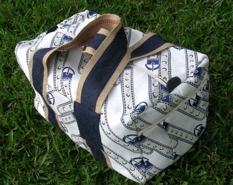 Super-size Travel Duffle Bag, Navy, Natural and Off-White