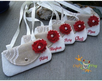Flower Girl present - Clutch -Burlap Clutch - Satin Clutch   - flower girl clutch - flower girl gift