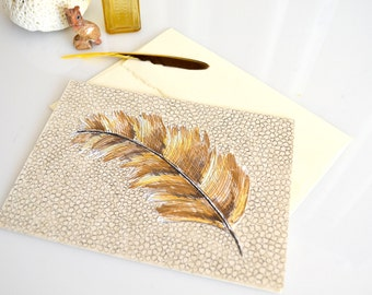 Turkey Feather Ink Drawing on Parchment Paper Card - Hand Drawn Card - Autumn, Fall, Turkey Feather Art