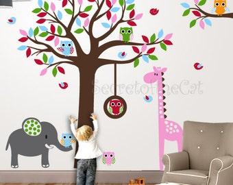 Wall Decals Nursery - Nursery wall decal - Nursery decals -Tree and Owls decal - Colorful Tree -  Safari Decal - Tree Decal - Nursery