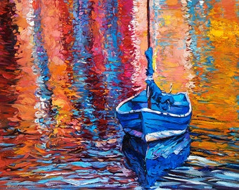 Blue Boat 26x20in, Landscape Painting Original Art Impressionistic OIl on Canvas by Ivailo Nikolov
