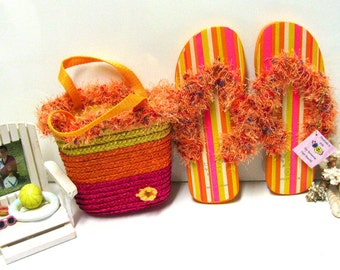 Girls Colorful Fancy Flip-Flops and Matching Straw Purse, Purse & Fun Fur Purse Set, Orange Fun Fur Purse, Neon Orange Fun Fur Set