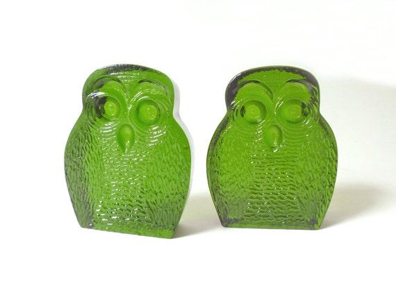 Vintage Green Glass Blenko Owl Bookends Book Ends 1960s