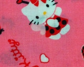 Hello Kitty Ladybug Toss Hot Pink Cotton Fabric - FQ /Bundles/Sewing Craft Supplies /Suiting fabric/ Quilting