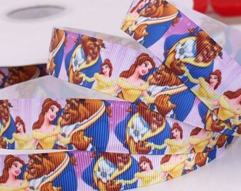 "Beauty and The Beast Grosgrain Ribbon / 7/8 ""( 22 mm ) width /DIY Hair Bow / Head Band DIY / Kids Craft Supplies"