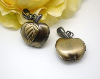 Apple Picture Locket Pendants Antique Bronze Vintage Style jewelry charms 22x33mm - 2pcs (0997)