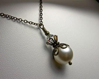 White Swarovski Crystal Pearl Victorian Choker Ivory Pearl Edwardian Bridal Drop Necklace Antique Brass Filigree Titanic Temptations Jewelry