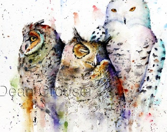 OWL Large Watercolor Print by Dean Crouser