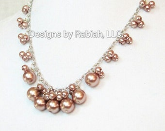 Glass Pearl Charm Necklace