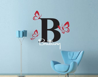 Butterfly Monogram wall decal - personalized name wall decals