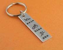 Triathlon Swim Bike Run Hand Stamped Keychain