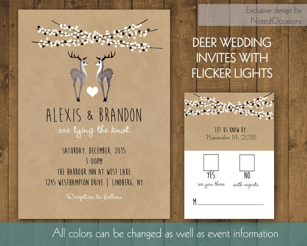 Deer Wedding Invitations: Deer Wedding Invitations For Winter Weddings By NotedOccasions