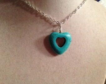 Turquoise Necklace - Heart - Silver Jewelry - Gemstone Jewellery - Fashion - Boho - Pendant