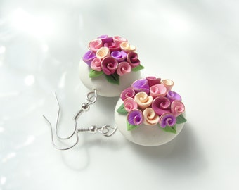 Pink wedding earrings in a vintage rose bead style handmade from polymer clay