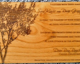 Wedding  Real Wood Invites Quantity #15//Laser Engraved//