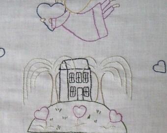 Shabby Chic Primitive Simple stitchery on Vintage linen