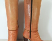 knee high zipper boots womens 8 B nude zipper high heel steampunk leather fashion