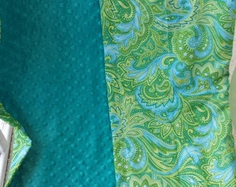 Paisley in blues and greens with teal minky toddler blanket