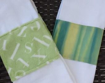 Blue and green batik burp cloth set