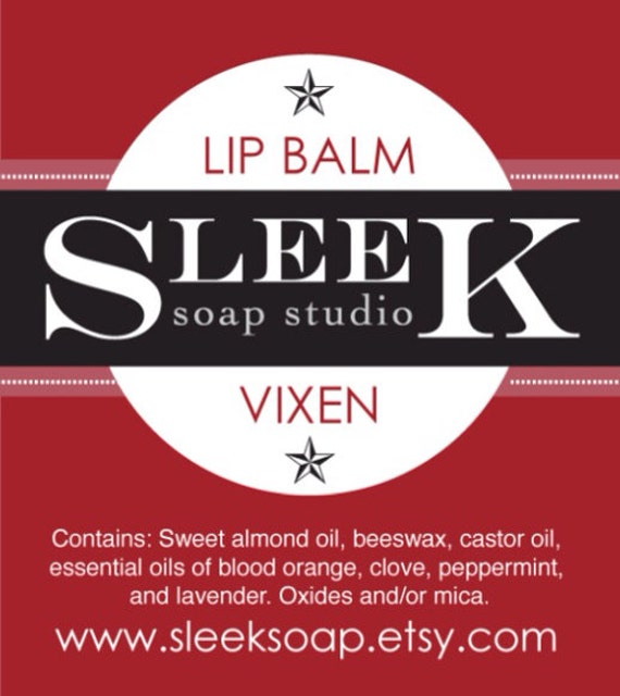 Vixen Lip Balm Skincare, makeup, lip gloss, beeswax, blood orange, peppermint, clove, almond oil, red lips,lip stain, lavender, tinted lips