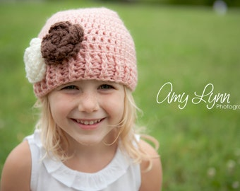 Girls Hat, Newborn Hat, Baby Hat, Crochet Girls Hat, Pink Cream and Chocolate Brown Flower Hat, Beanie, Photography Prop