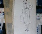 """Vintage 1940s Mail Order Pattern 3487 for Girl's Blouse and Skirt, Size 12, Breast 30"""""""