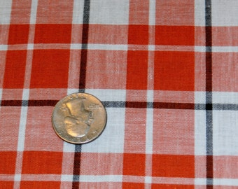 "Vintage 1950s Cotton Fabric Yardage Orange, Black, White Plaid Print 35"" x 60"""