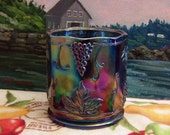 Vintage Grape & Cable Carnival Glass Candy Jar