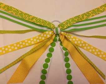 CLEARANCE!!! One of a Kind Ponytail Streamer in SUMMERTIME Colors of Yellow & Lime