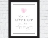Love Is Sweet - Thumbprint Heart - Printable Wedding Sign, Bridal Shower Sign, Bachelorette Party, PDF - PRINTABLE
