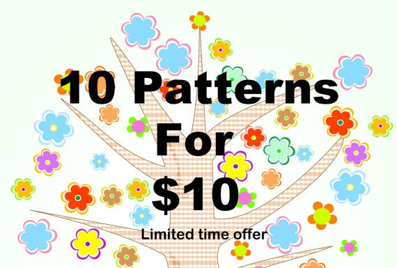 10 PDF Crochet Patterns for 10 Dollars, Buy any 10 Patterns and use Coupon Code BUYTEN