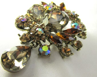 Large Crystal Vintage style Brown Topaz AB Teardrop brooch for bridal bouquet or jewelry decoration