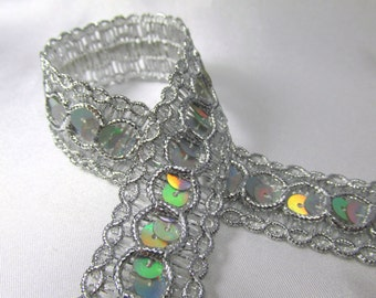 Silver Holographic Sequin Trim Circle Style Braided Trim by the yard