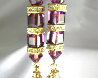 Swarovski Cube Purple Amethyst Earrings with Vintage Drops on 14k Gold Fill Posts or Wires