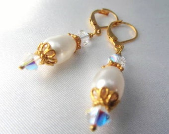 White Swarovski Pearl Teardrop and 22k Gold Vermeil Bridal Earrings on 14k gold fill leverbacks