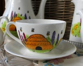Bees beekeeper Teacup and Saucer hand painted china bee hive and bees