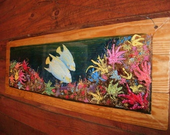 """Queen Angle Fish Coral Reef Painting 44""""  colorful wall art on reclaimed wood bright colors wood grain comes through beach home decor"""