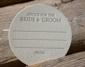 75 Advice for the BRIDE & GROOM Coasters,grey or purple (Letterpress printed, 3.5 inches circle) set of 75, perfect for weddings